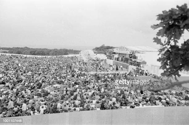 Isle of Wight Festival 1969 held on 29th to 31st August 1969 at the English town of Wootton on the Isle of Wight aerial views Friday 29th August 1969