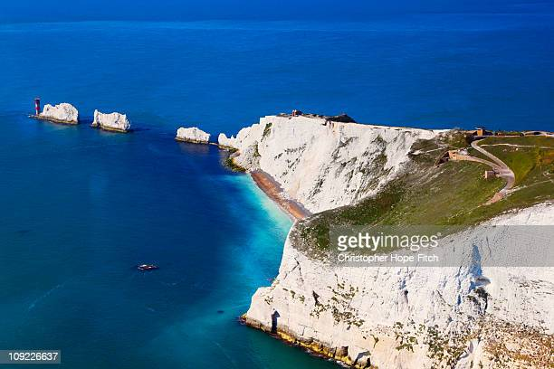 isle of wight needles - isle of wight stock pictures, royalty-free photos & images