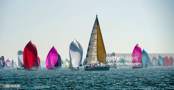 isle of wight round the island yacht race 2019 - isle of wight stock pictures, royalty-free photos & images