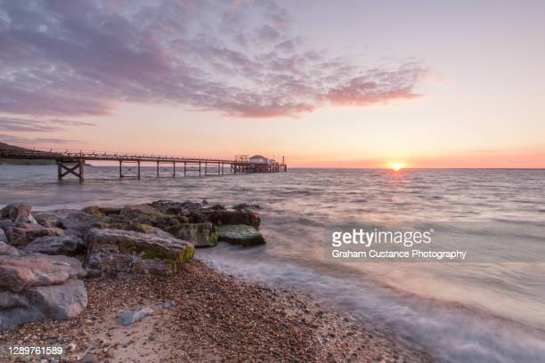 isle of wight sunset - totland bay stock pictures, royalty-free photos & images