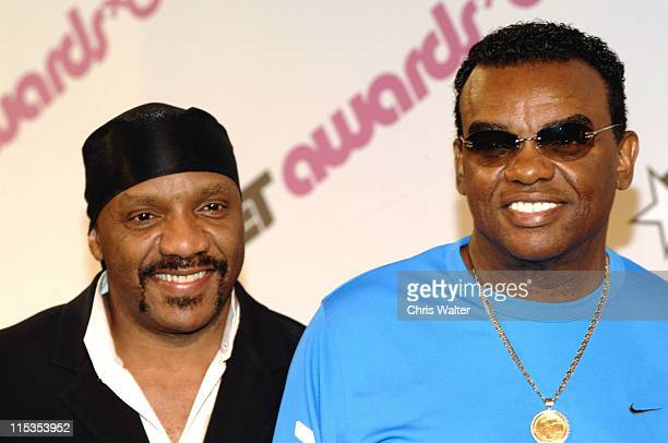 Isley Brothers Ernie Isley and Ron Isley during 2004 BET Awards Nominees Announcement at Renaissance Hotel in Hollywood California United States
