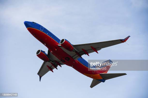 Southwest Airlines flight takes off at Long Island MacArthur Airport in Islip, New York on March 25, 2021.