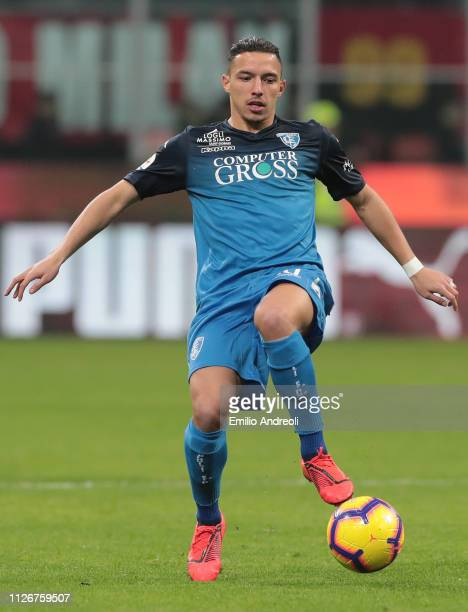 Ismael Bennacer in action during the Serie A match between AC Milan and Empoli at Stadio Giuseppe Meazza on February 22 2019 in Milan Italy