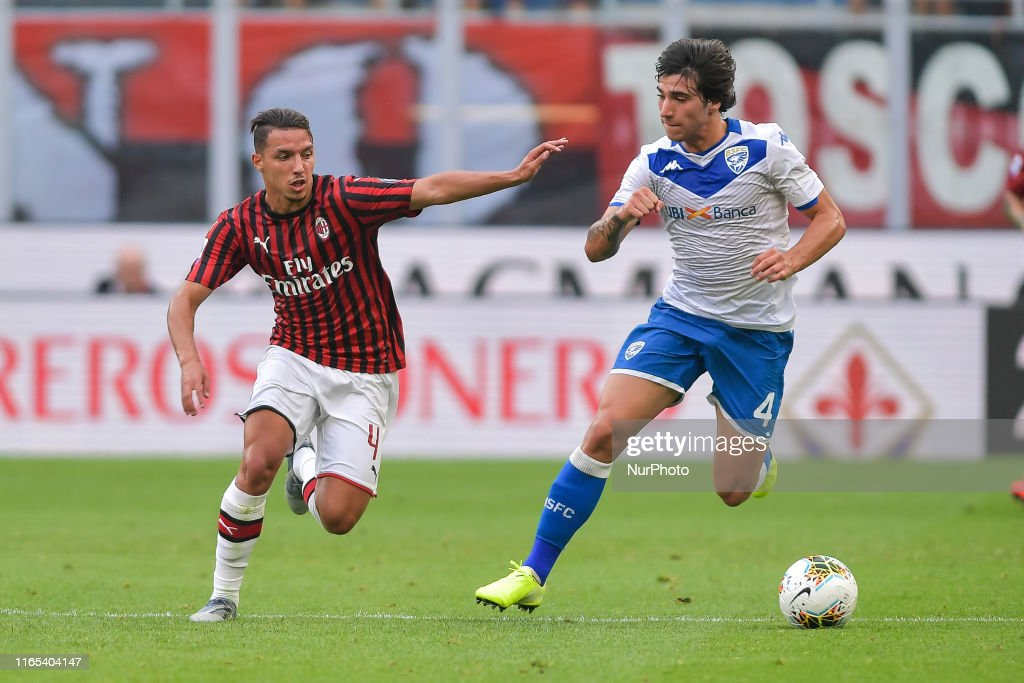 Ismael Bennacer of AC Milan and Sandro Tonali of Brescia Calcio in... News Photo - Getty Images