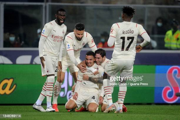 Ismael Bennacer of Ac Milan celebrates after scoring his team's third goal during the Serie A match between Bologna FC and AC Milan at Stadio Renato...