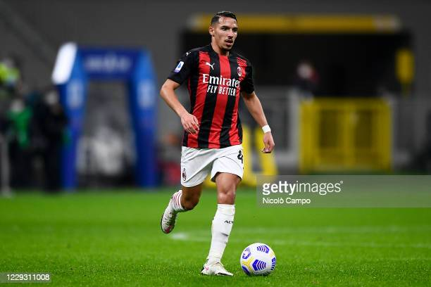 Ismael Bennacer of AC Milan in action during the Serie A football match between AC Milan and AS Roma The match ended 33 tie
