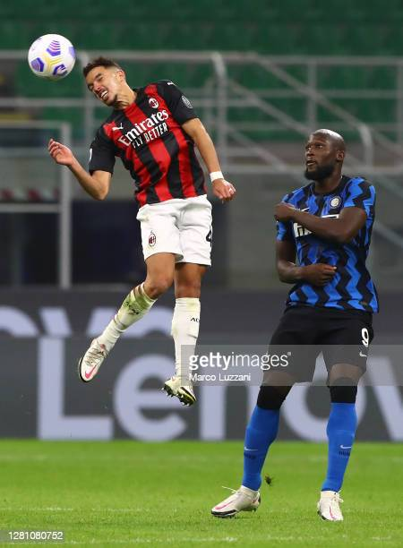 Ismael Bennacer of AC Milan in action during the Serie A match between FC Internazionale and AC Milan at Stadio Giuseppe Meazza on October 17 2020 in...