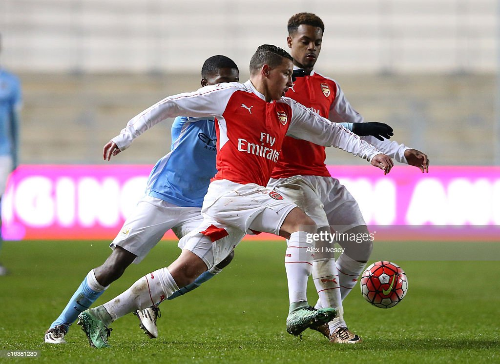 Ismael Bennacer of Arsenal during the FA Youth Cup Semi Final, First Leg match between Manchester City and Arsenal at the City Football Academy on March 18, 2016 in Manchester, England.