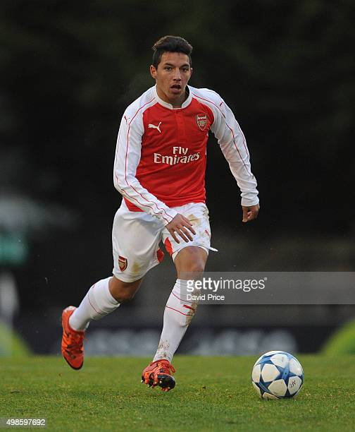 Ismael Bennacer of Arsenal during the match between Arsenal U19 and Dinamo Zagreb U19 in the UEFA Youth League on November 24 2015 in Borehamwood...