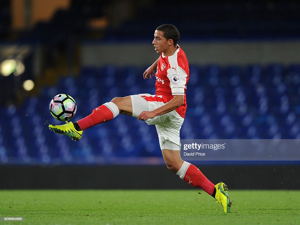 Ismael Bennacer of Arsenal during the match between Chelsea U23 and Arsenal U23 at Stamford Bridge on September 23, 2016 in London, England.