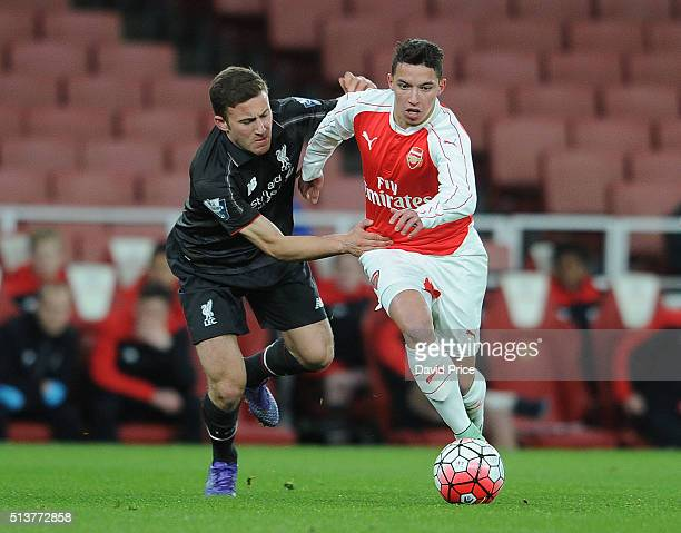Ismael Bennacer of Arsenal is challenged by Herbie Kane of Liverpool during the match between Arsenal U18 and Liverpool U18 in the FA Youth Cup 6th...
