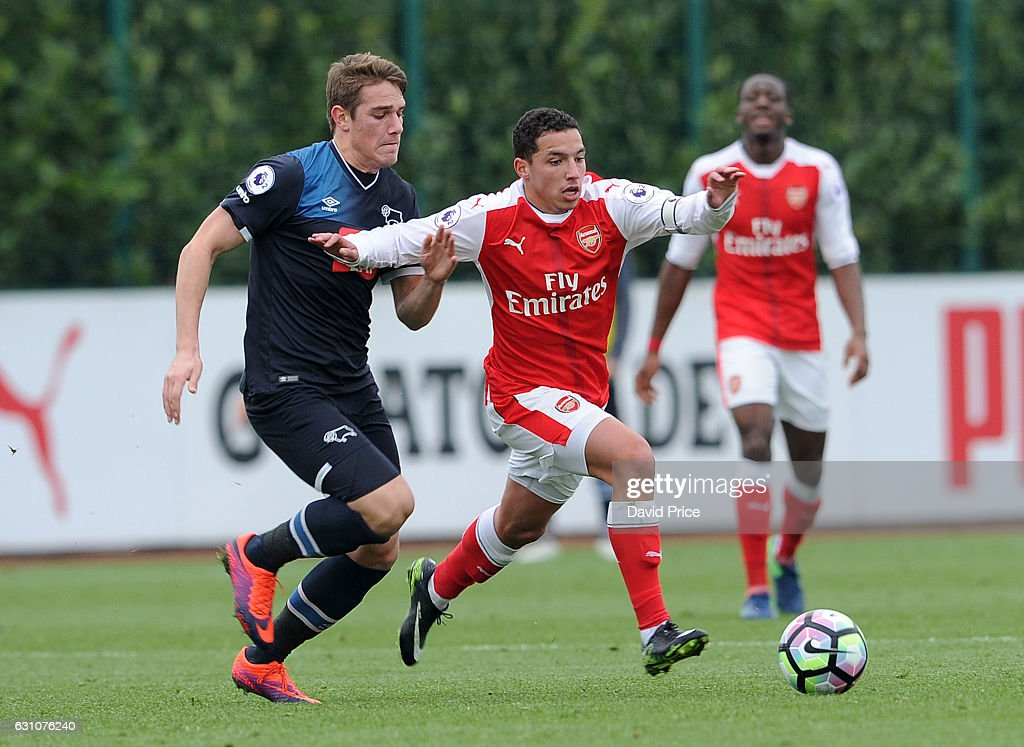 Ismael Bennacer of Arsenal takes on Timi-Max Elsnik of Derby during the match between Arsenal U23 and Derby County U23 at London Colney on January 6, 2017 in St Albans, England.