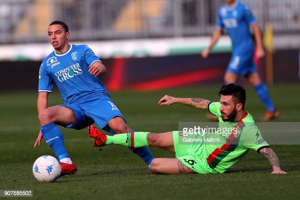 Ismael Bennacer of Empoli FC battles for the ball with Federico Angiulli of Ternana Calcio during the serie B match between Empoli FC and Ternana...
