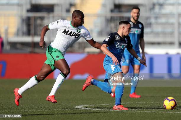 Ismael Bennacer of Empoli FC battles for the ball with Khouma Babacar of US Sassuolo during the Serie A match between Empoli and US Sassuolo at...