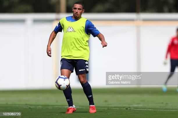 Ismael Bennacer of Empoli FC controls the ball during training session on August 29 2018 in Empoli Italy