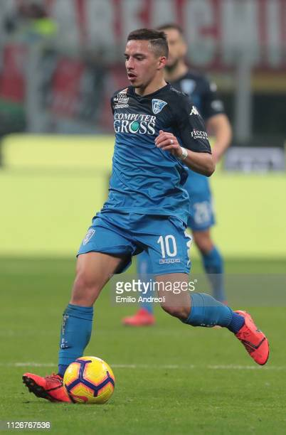 Ismael Bennacer of Empoli FC in action during the Serie A match between AC Milan and Empoli at Stadio Giuseppe Meazza on February 22 2019 in Milan...