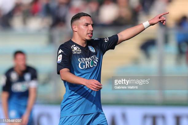 Ismael Bennacer of Empoli FC in action during the Serie A match between Empoli and US Sassuolo at Stadio Carlo Castellani on February 17 2019 in...