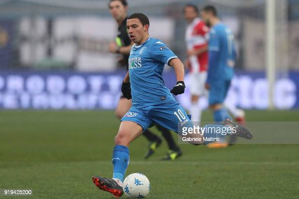 Ismael Bennacer of Empoli FC in action during the serie B match between FC Empoli and Parma Calcio at Stadio Carlo Castellani on February 17 2018 in...