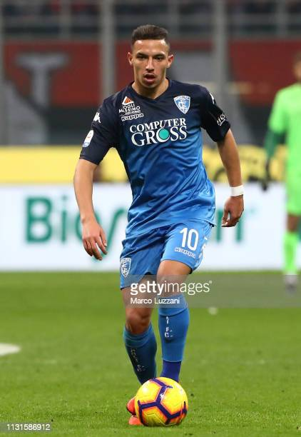 Ismael Bennacer of Empoli in action during the Serie A match between AC Milan and Empoli at Stadio Giuseppe Meazza on February 22 2019 in Milan Italy