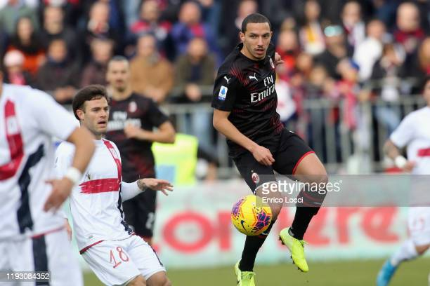 Ismael Bennacer of Milan in action during the Serie A match between Cagliari Calcio and AC Milan at Sardegna Arena on January 11 2020 in Cagliari...