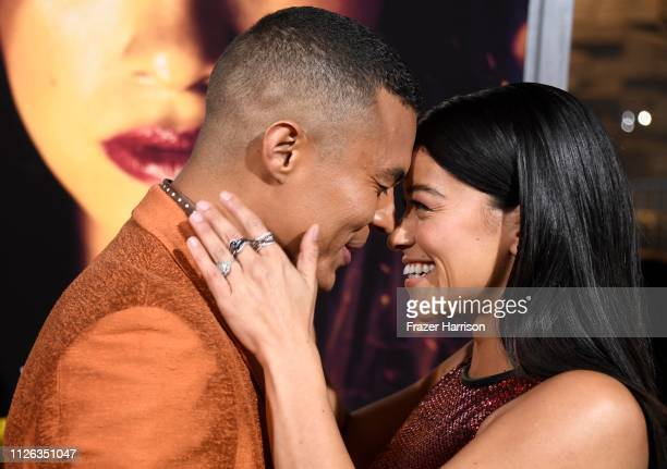 Ismael Cruz Cordova and Gina Rodriguez attend the Premiere Of Columbia Pictures' Miss Bala at Regal LA Live Stadium 14 on January 30 2019 in Los...