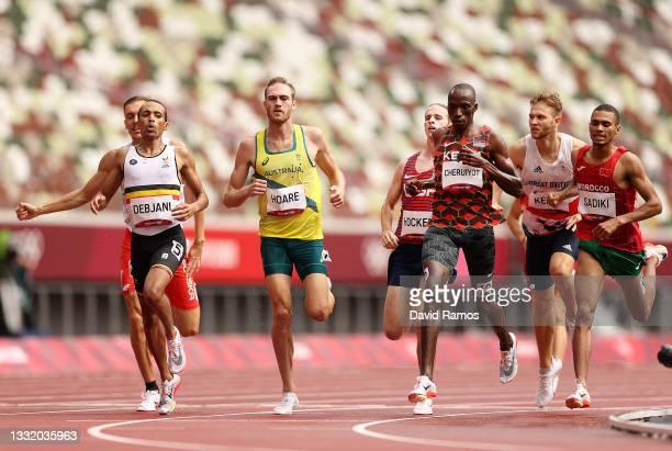 Ismael Debjani of Team Belgium, Oliver Hoare of Team Australia, Timothy Cheruiyot of Team Kenya and Abdelatif Sadiki of Team Morocco compete in round...