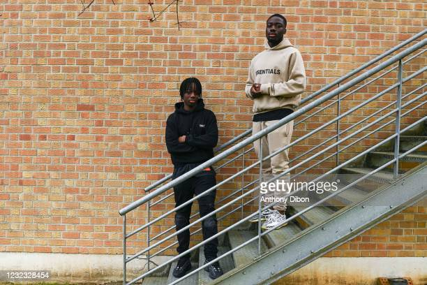 Ismael DOUKOURE and his brother Isak during a photosession on April 15, 2021 in Paris, France.