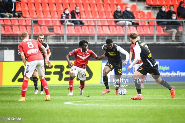 Ismael DOUKOURE of Valenciennes and Chris Vianney BEDIA of Sochaux during the Ligue 2 match between Valenciennes and Sochaux at Stade du Hainaut on...