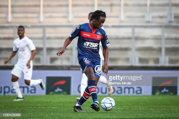 Ismael DOUKOURE of Valenciennes during the Ligue 2 match between Amiens and Valenciennes at Stade de la Licorne on April 20, 2021 in Amiens, France.