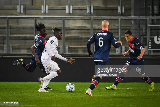 Ismael DOUKOURE of Valenciennes, Stephen ODEY of Amiens and Joffrey CUFFAUT of Valenciennes during the Ligue 2 match between Amiens and Valenciennes...