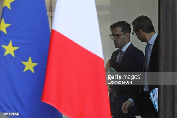 Ismael Emelien special advisor of French president speaks with French general secretary of the presidency Alexis Kohler as they leave the Elysee...
