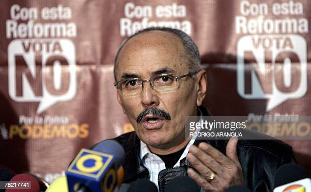 Ismael Garcia leader of Podemos a dissident movement of the chavism speaks at a press conference in Caracas 03 December 2007 A humbled President Hugo...