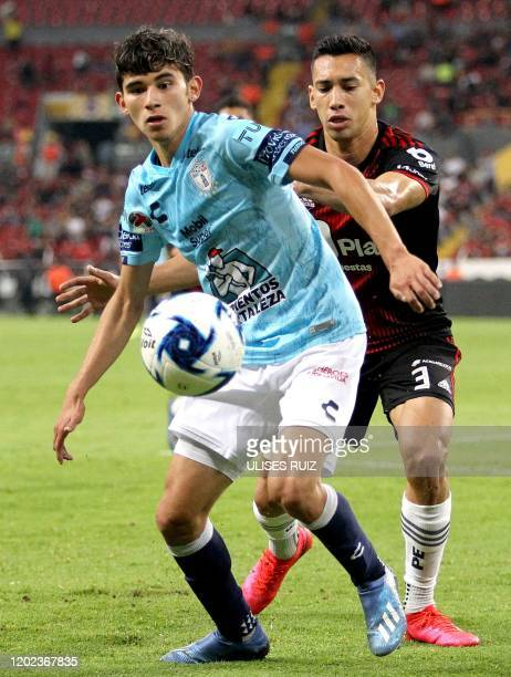 Ismael Govea of Atlas vies for the ball with Francisco Figueroa of Pachuca during the Mexican Clausura 2020 tournament football match at Jalisco...