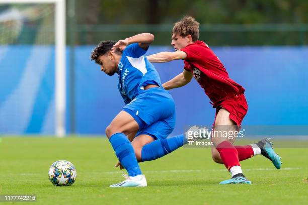 Ismael Saibari of Genk U19 ud Leighton Clarkson of FC Liverpool U19 battle for the ball during the UEFA Youth League match between Genk U19 and...