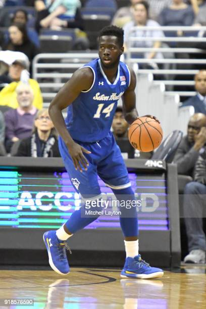 Ismael Sanogo of the Seton Hall Pirates dribbles up court during a college basketball game against the Georgetown Hoyas at Capital One Arena on...