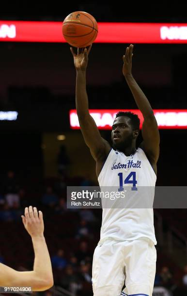 Ismael Sanogo of the Seton Hall Pirates in action against the Marquette Golden Eagles during a game at Prudential Center on February 7 2018 in Newark...