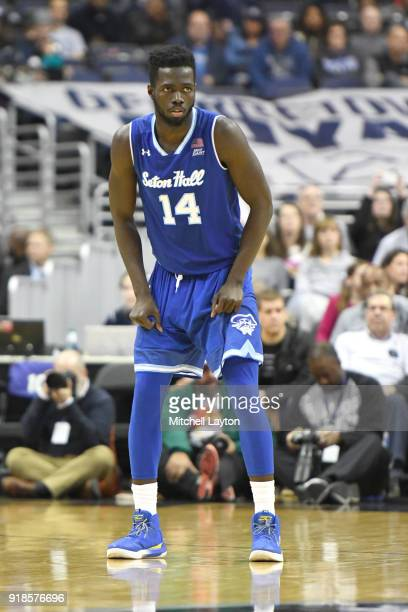 Ismael Sanogo of the Seton Hall Pirates looks on during a college basketball game against the Georgetown Hoyas at Capital One Arena on February 10...