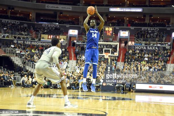Ismael Sanogo of the Seton Hall Pirates takes a jump shot during a college basketball game against the Georgetown Hoyas at Capital One Arena on...