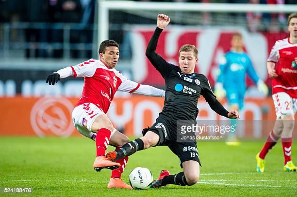 Ismael Silva Lima of Kalmar FF competes for the ball against Darijan Bojanic of Helsingborgs IF during the Allsvenskan match between Kalmar FF and...