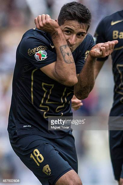 Ismael Sosa of Pumas celebrates after scoring the opening goal against Pachuca during a match between Pumas UNAM and Pachuca as part of 13th round...