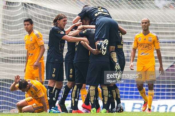 Ismael Sosa of Pumas celebrates after scoring the second goal against Tigres during a match between Pumas UNAM and Tigres UANL as part of 8th round...