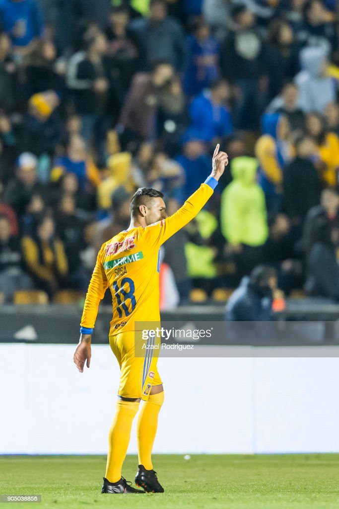 Ismael Sosa of Tigres celebrates after scoring his team's first goal during the 2nd round match between Tigres UANL and Santos Laguna as part of the Torneo Clausura 2018 Liga MX on January 13, 2018 in Monterrey, Mexico.