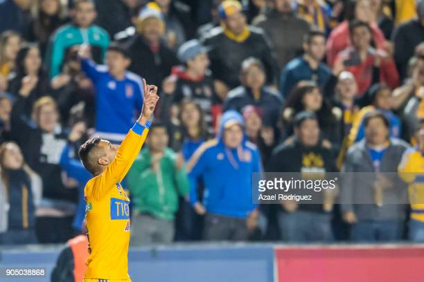 Ismael Sosa of Tigres celebrates after scoring his team's first goal during the 2nd round match between Tigres UANL and Santos Laguna as part of the...