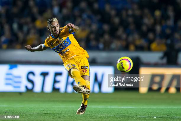 Ismael Sosa of Tigres kicks the ball during the 4th round match between Tigres UANL and Pachuca as part of the Torneo Clausura 2018 Liga MX on...