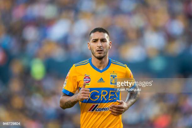Ismael Sosa of Tigres looks on during the 15th round match between Tigres UANL and Cruz Azul as part of the Torneo Clausura 2018 Liga MX at...