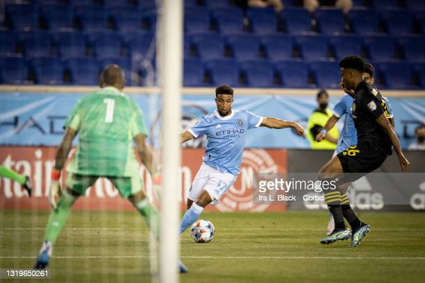 Ismael Tajouri of New York City drives around to the goal during the 2nd half of the match against Columbus Crew SC at Red Bull Arena on May 22, 2021...