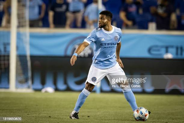 Ismael Tajouri of New York City drives to the goal in the 2nd half of the match against Columbus Crew SC at Red Bull Arena on May 22, 2021 in New...