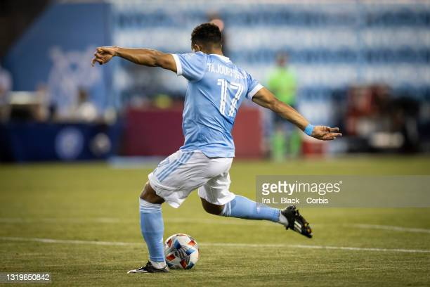 Ismael Tajouri of New York City takes the shot on goal in the 2nd half of the match against Columbus Crew SC at Red Bull Arena on May 22, 2021 in New...