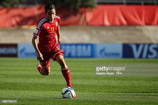 Ismail Azzaoui of Belgium carries the ball during the FIFA U17 World Cup Chile 2015 group D match between Belgium and Honduras at Estadio Fiscal on...