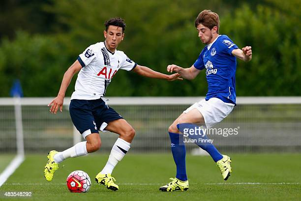 Ismail Azzaoui of Spurs battles with Anthony Evans of Everton during the Barclays U21 Premier League match between Tottenham Hotspur U21 and Everton...